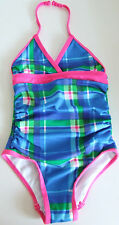 U.S. POLO ASSN GIRLS BLUE TARTAN CHECKED RUCHED HALTER SWIMSUIT SIZE 2 YEARS NEW