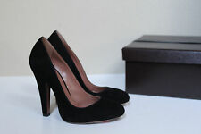 New sz 9.5 / 39.5 Azzedine Alaia Black Suede Platform Classic Pump Heel Shoes