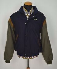 Lacoste Leather Wool Bomber Harrington Jacket size 8 2XL 3XL Vintage Retro Blue