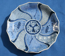 Very Fine 18th Century Japanese Imari Blue and White Scalloped Plate Edo