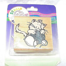 Rubber Stampede Cat kitty rubber stamp kitten cats ball of yarn A875E 90s new