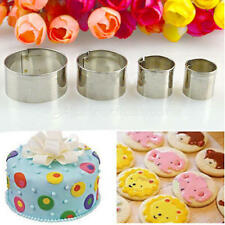 4Pcs Stainless Steel Round Fondant Cake Mold Biscuit Craft Pastry Cookie Cutter