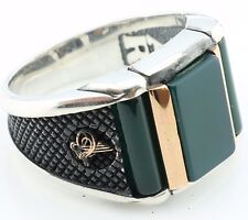 925 Sterling Silver Green Agate Stone Men`s Ring -US Seller-All Sizes 8-12 K6T