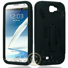 Samsung N7100 Note 2 Armor Case Black Cover Shell Protector Guard Shield Case