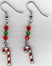 Christmas Earrings-Candy Cane Charms Beaded with Red and Green Swarovski Beads