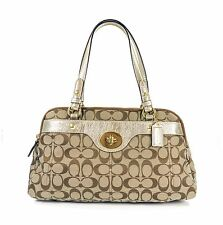 NEW $378 COACH F16542 Penelope Signature Turnlock Satchel in Khaki & Gold