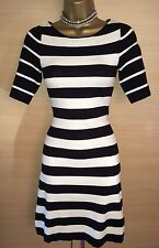 Exquisite Karen Millen Stripe Knit Skater Dress UK8-10