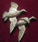 Pewter Pair Duck Hunting Shooting Brooch Pin  Quality