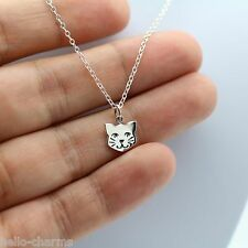 KITTY CAT NECKLACE 925 Sterling Silver Adopt Cat Charm Pet Jewelry Cat Face NEW