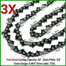 "3X CHAINSAW CHAIN FULL CHISEL 3/8 063 72DL FOR 066 MS660 034 038 STIHL 20"" BAR"