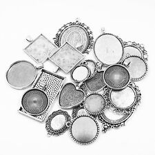 20Pcs Mix Style Shape Antique Silver Cameo Setting Cabochon Base Bezel Pendant