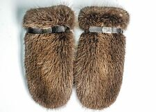 Beaver Fur/Leather Women's Men's Warm Winter Furry Mittens Gloves Wool Lining!