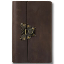 Ancicraft Refillable Leather Journal Diary with Retro Butterfly Lock A6 Lined