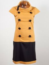 New Rinascimento Collection Mustard & Black Made in Italy  Dress Eu size S