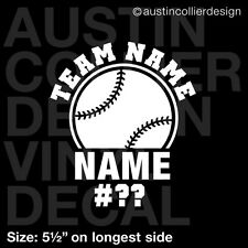 "5.5"" PERSONALIZED BASEBALL vinyl decal car window laptop sticker - custom"