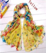 Hot Stylish Women Floral Soft Chiffon Scarf Wraps Long Shawl Stole Scarf Yellow