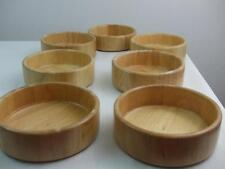 "7 Birch Wood Hand Made Salad Bowls Kitchen Blonde Color Fernanda Mfg 6.5"" wide"
