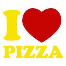 Lemon Yellow & Red I Love Pizza Delivery Funny Car Window Fridge Decal Sticker
