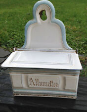 Original old French Enamelware Allumettes / Match Container