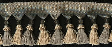 "4"" MINT GREEN CHAMPAGNE BEADED CROWN TASSEL FRINGE FABRIC TRIM 10&3/4 YARDS"