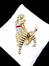 MAGNIFICENT 1960'S CROWN TRIFARI GOLD-TONE PAVE RHINESTONE POODLE DOG BROOCH PIN