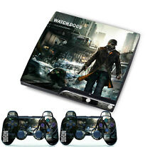 Watch Dogs Sticker for PlayStation 3 Slim PS3 Console + 2 Controller Skins