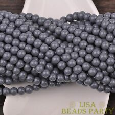 Hot 50pcs 6mm Round Glass Loose Spacer Beads Jewelry Findings Deep Grey