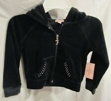 BLINGED OUT JUICY COUTURE BLACK VELOUR PUFF SLEEVE HOODIE JACKET SZ XS NWTGS $44