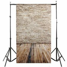 3x5FT Wood Floor Brick Wall Backdrop Studio Vinyl Photography Props Background