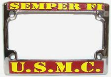 US Marines Chrome Motorcycle License Plate Semper Fi Frame USMC