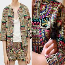 ZARA MULTICOLOURED EMBROIDERED BLAZER JACKET COAT BLOGGERS SIZE SMALL S NEW