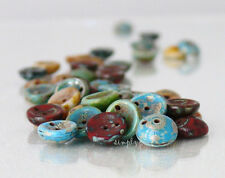 Piggy Mixed Picasso Two-Hole Disc Czech Beads 8mm 20 Glass Concave New Arrivals