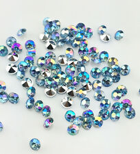 DIY 200pcs 5mm Blue AB Resin Crystal beads Point back Rhinestones Strass NEW C2
