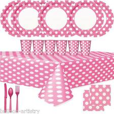 Pink Polka Dot Spot Birthday Party Supplies Tableware Pack Set For 16