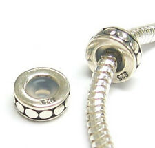 STR Silver Round Circle Dot Stopper Bead with Rubber f/ European Charm Bracelet