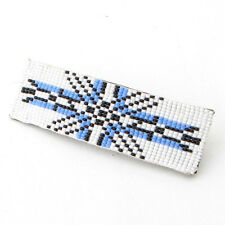 BLUE WHITE GEOMETRICAL ART BEADWORK BEADED HAIR BARRETTE FRENCH CLIP