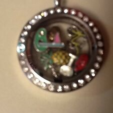Authentic Origami Owl Necklace with Rhinestone Locket 6 Colorful Charms