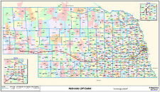 Nebraska State Zipcode Laminated Wall Map