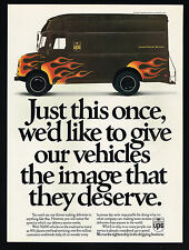 1992 UPS United Parcel Service Delivery Truck Flames Photo Vintage Print Ad
