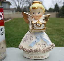 Vtg For Baby Boy Angel Figure Lefton 333 As Is Treasure Gift Spaghetti Lace Old