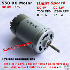 DC6V-18V 12V 17200RPM High Speed Large Torque 550 DC Motor for Drill Kid Toy Car