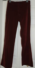 New 10 Red Herring Maroon Wine Thick Velvet Flare boot cut Trouser Jeans Xmas