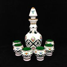Bohemian Cased White to Green Cut Glass Overlay Decanter Set + 6 Cordial / Shots