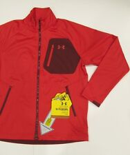 New tag Mens Under Armour Red Full Zip Soft Shell Fleece-lined Track Jacket L