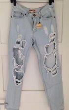 NEW LIGHT RINSE STRAIGHT LEGGED DISTRESSED JEANS BY REVERSE SIZE 10