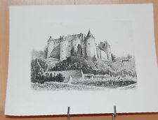 Gravure taille douce sur cuivre Chateau de Luynes  Léopold Robin  Noire