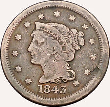 1843 LARGE CENT Liberty Head Wreath United States of America USA Coin i43515