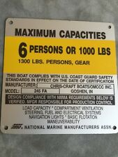OMC Chris Craft 245 FA Boat Capacity Plate~Tag~6 Persons or 1000 Lbs