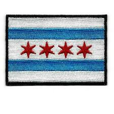 """CHICAGO CITY FLAG IRON ON PATCH 3"""" Illinois Blue Red Embroidered Applique Biker"""