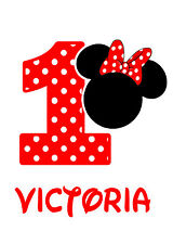 Minnie Mouse Birthday Iron On Transfer Tshirt Design Print your Own Red